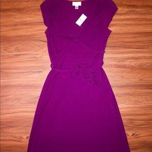 NWT Loft faux wrap dress in fuchsia